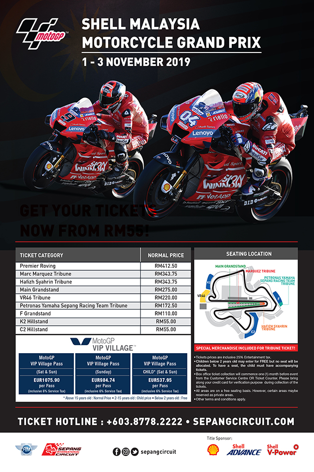 SHELL MALAYSIA MOTORCYCLE GRAND PRIX 2019 | Official Ticketek
